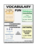 Vocabulary Activities: Palindromes, Anagrams, Portmanteaux