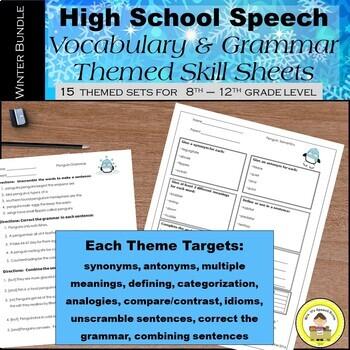 WINTER Speech Therapy Bundle Theme Vocabulary and Grammar Units