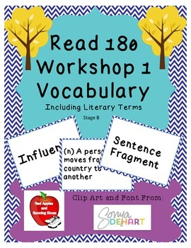 BUNDLE! (WS 1-9) Read 180 Stage B Vocabulary Flash Cards and Word Wall Cards