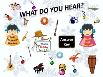 "Bundle ""What Do You Hear?"" Answer Keys Winter Holidays Sets 1&2 Instrument/Vocal"