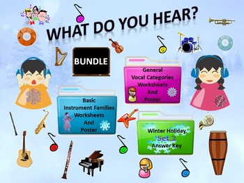 Bundle Winter Holiday Set 2 Answer Key, Worksheets, Poster, Instrument & Vocal