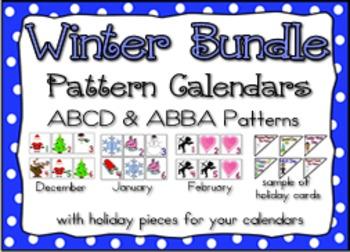 Bundle--Winter Pattern Calendar Bundle-- Dec. through Feb