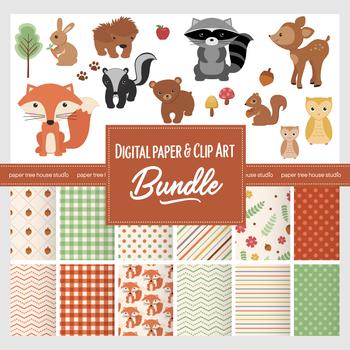 Bundle Woodland Forest Friends Clip Art and Digital Paper Set