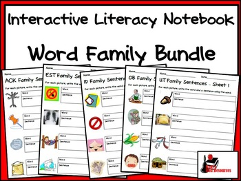 Bundle - Word Family Interactive Literacy Notebook Pages