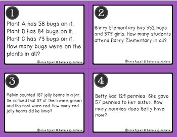 Word Problem Task Cards BUNDLE-Set C and D (Addition and Subtraction)