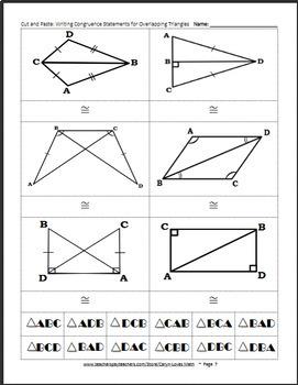 Writing Congruence Statements Bundle~Triangles~Matching Activity~Google Drive