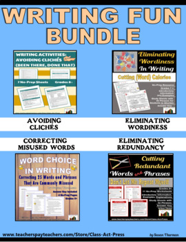 Bundle: Writing Fun: Cliches, Wordiness, Redundancy, Word Choice
