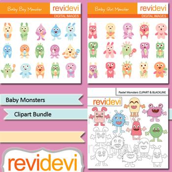 Bundle clip art Baby monsters pastel colors