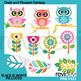 Bundle clip art animals and flowers pastel
