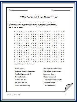 Bundle for My Side of the Mountain - Two Crosswords and Two Word Searches