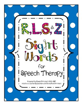 Speech Therapy Bundle - Articulation Sight Words R, L, S, & Z