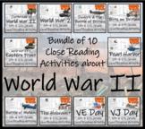 Bundle of 10 Grade 5 & 6 World War II Reading Comprehension Activities