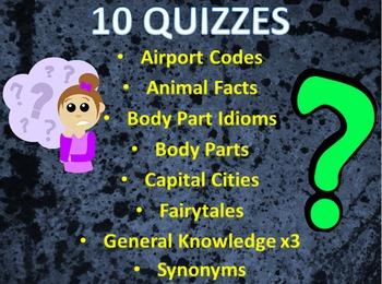 Bundle of 10 Quizzes inc. General Knowledge Trivia, Idioms