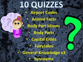 Bundle of 10 Interactive Quizzes inc. General Knowledge, I