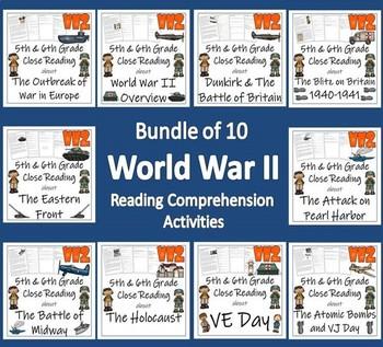 Bundle of 10 World War II Reading Comprehension Activities