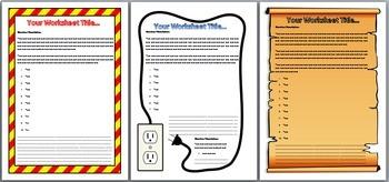 Bundle of 11 Editable Worksheet Templates in Microsoft Word Format