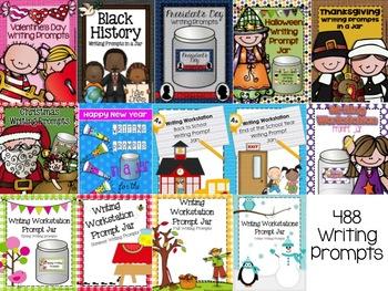 Bundle of 14 Writing Prompt Jars- Seasons, Holidays, and More
