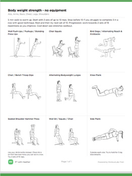 Bundle of 20  exercise program with minimal equipment with pictures