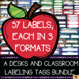 Desk Name Tags with Matching Classroom Labels {BUNDLE}