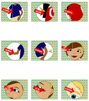 Bundle of 3 engaging games to accompany FRENCH BODY PARTS NOTES & POWER POINT