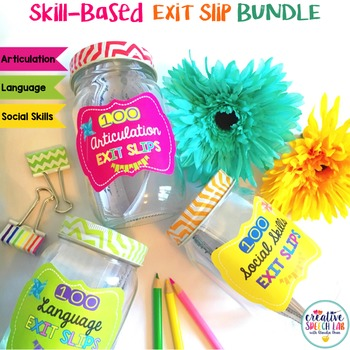 Skill-Based Bundle of 300 Exit Slips for Articulation, Language & Social Skills