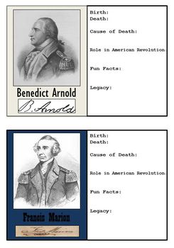 Bundle of 32 American Revolution + 32 Civil War Trading Cards to be Made