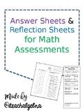 Bundle of 4 EDITABLE - Math Answer Sheets and Math REFLECTION Sheets