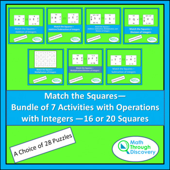 Bundle of 7 Match the Squares Puzzles- Operations with Integers