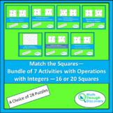 Algebra 1 - Bundle of 7 Match the Squares Puzzles- Operati