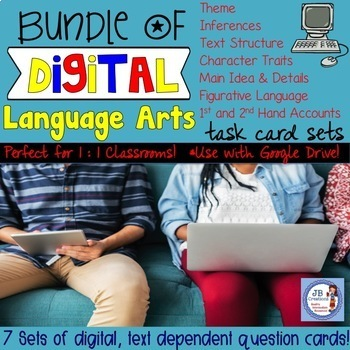 Bundle of 7 Digital Task Card Sets for 4th Grade Language Arts (Google Drive)