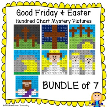 Bundle of 7 Easter & Good Friday Hundred Chart Mystery Pictures w/ Bible Clues