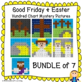 Easter & Good Friday Hundred Chart Mystery Pictures w/ Bible Clues BUNDLE of 7