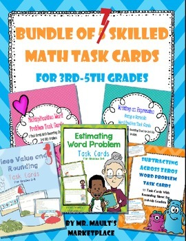 Bundle of 7 Math Concept Task Cards for Third, Fourth, and Fifth Grades