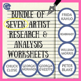 Bundle of 7 artist research and analysis worksheets - stud