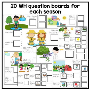 Bundle of 80 Interactive 4 seasons WH Question boards. Autism. File Folders