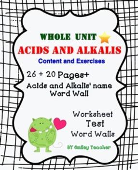 Acids and Alkalis Bundle of  worksheet/Test/Word Walls