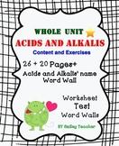Acids & Alkalis Acid & Base Bundle of  worksheet / Test / Word Wall