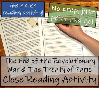 Bundle of Activities about the The Revolutionary War & the Treaty of Paris