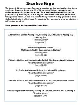 Bundle of Addition/Subtraction Games:Dice games/ Sorts- Kindergarten/1st Grade
