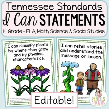 Bundle of All 1st Grade Tennessee Standards in a Student-Friendly Format