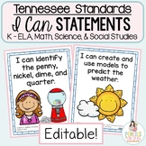 TN Standards I Can Statements for Kindergarten