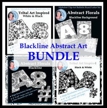 Bundle of Alphabet Clipart Bulletin Board Letter Sets of Abstract Designs
