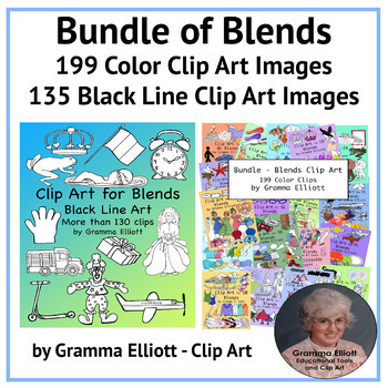 Bundle of Blends and Digraphs Color and Black Line Clip Art