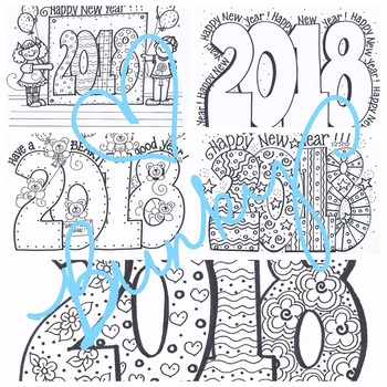 Bundle of coloring sheets 5 designs for happy new year 2018