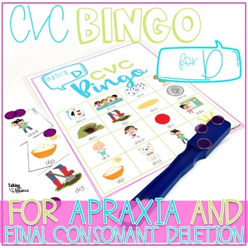 Bundle of CVC Bingo for T and D Words for Speech Therapy