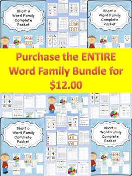 Bundle of CVC Word Family Activities:Worksheets, Bingo, Spinner, Sorting & MORE!