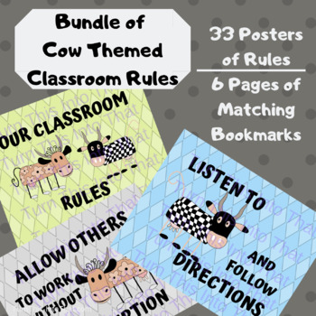 Bundle of Cow Themed Classroom Rules Posters - 3 sets Save 25%