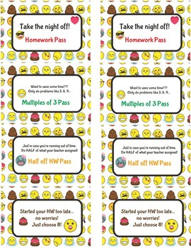 Bundle of Different Types of Emoji Homework Passes