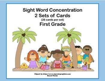 Bundle of First Grade Sight Word Printable Concentration Games- Four Seasons