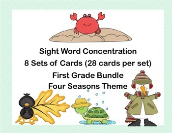 Bundle of First Grade Sight Word Printable Concentration G